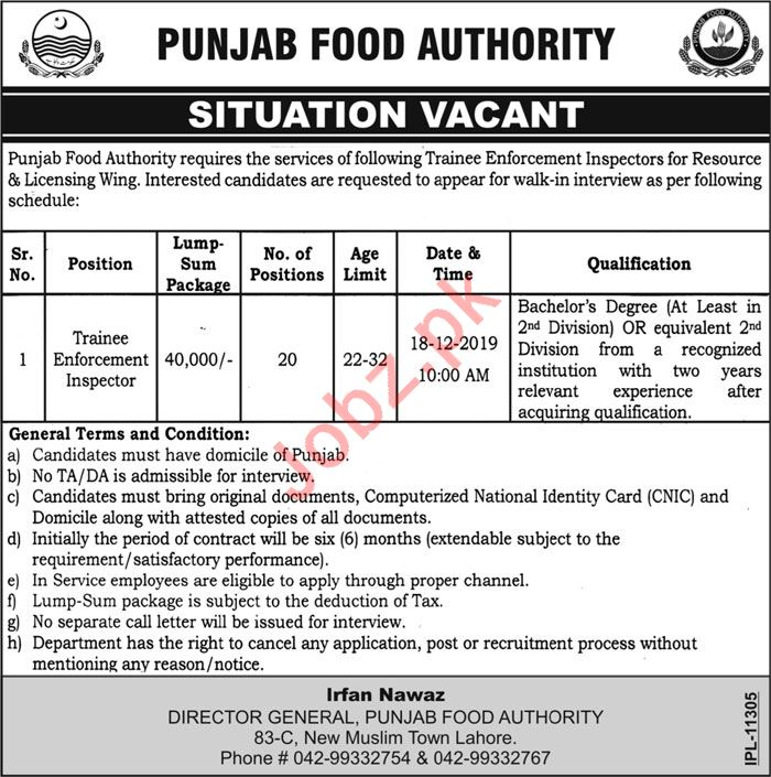 Punjab Food Authority PFA Lahore Jobs Enforcement Inspector