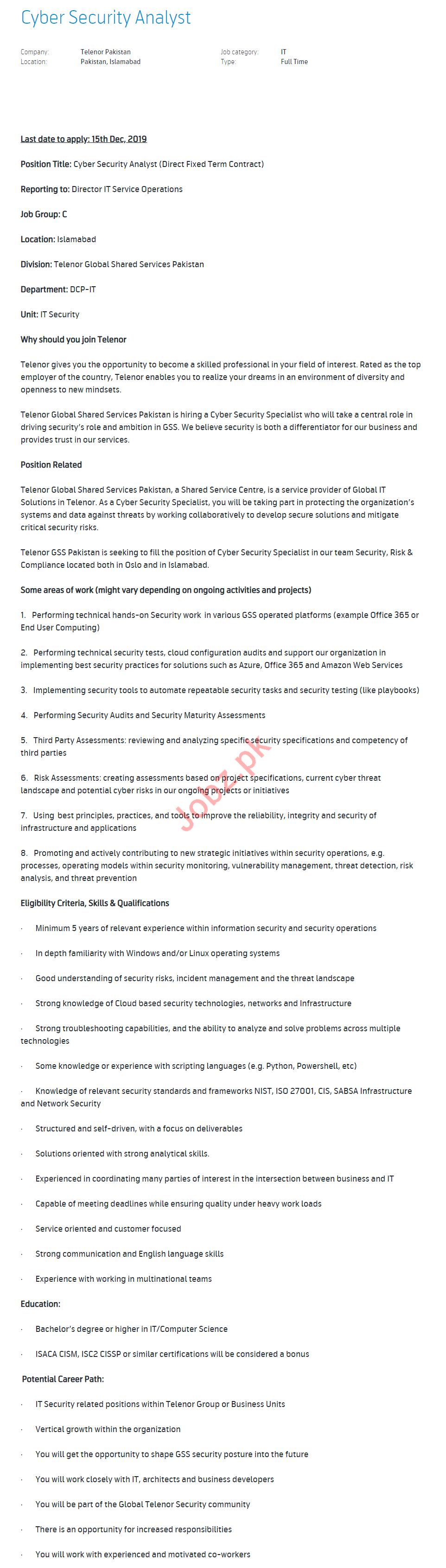 Cyber Security Analyst Jobs in Telenor Pakistan