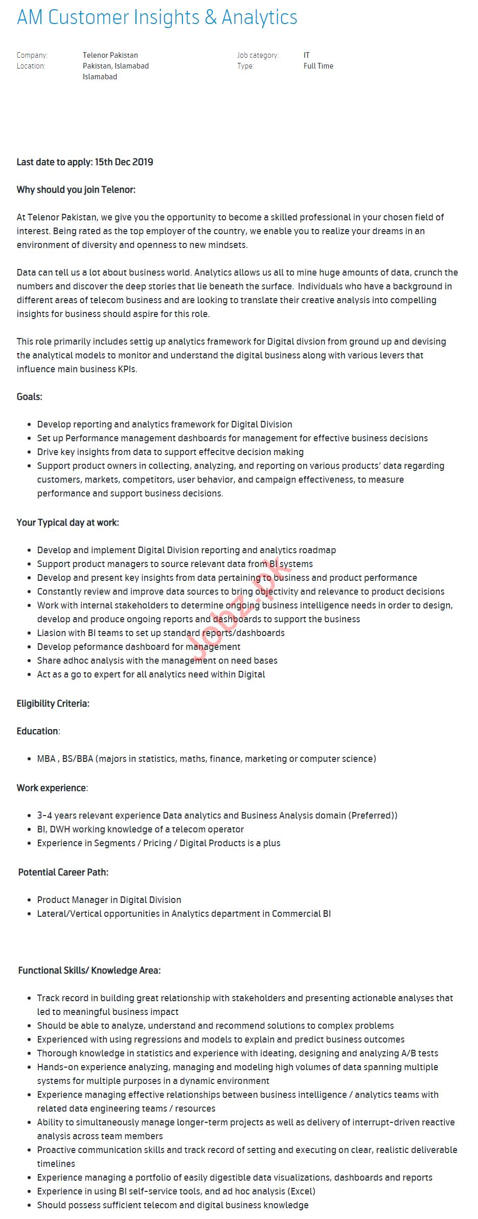 AM Customer Insight & Analytics Jobs in Telenor Pakistan