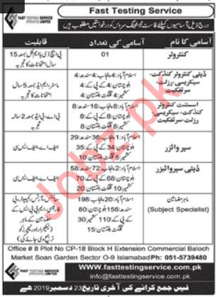 Fast Testing Services FTS Management Staff  Jobs 2020