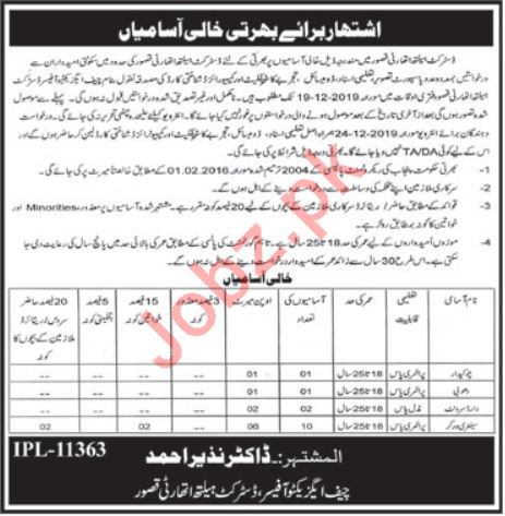 District Health Authority Kasur Jobs 2019 for Watchman