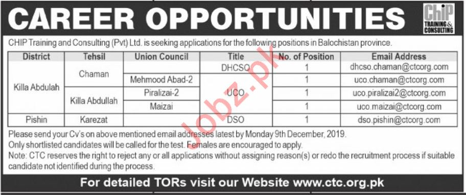 Chip Training & Consulting DHCSO UCO & DSO Jobs 2020