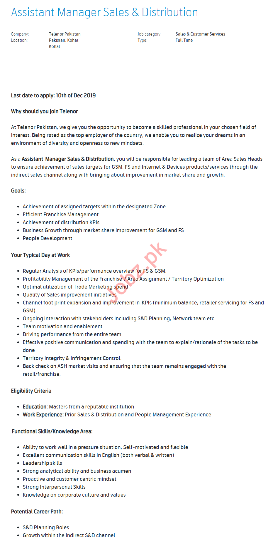 Assistant Manager Sales & Distribution Jobs in Telenor
