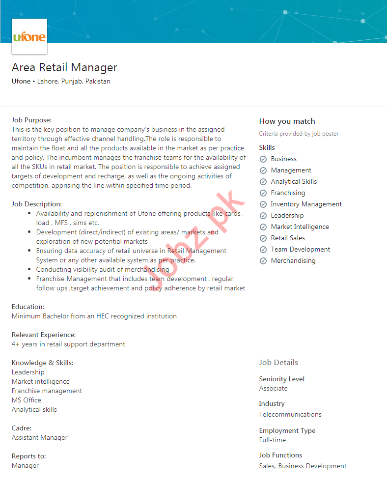 Area Retail Manager Jobs in Ufone
