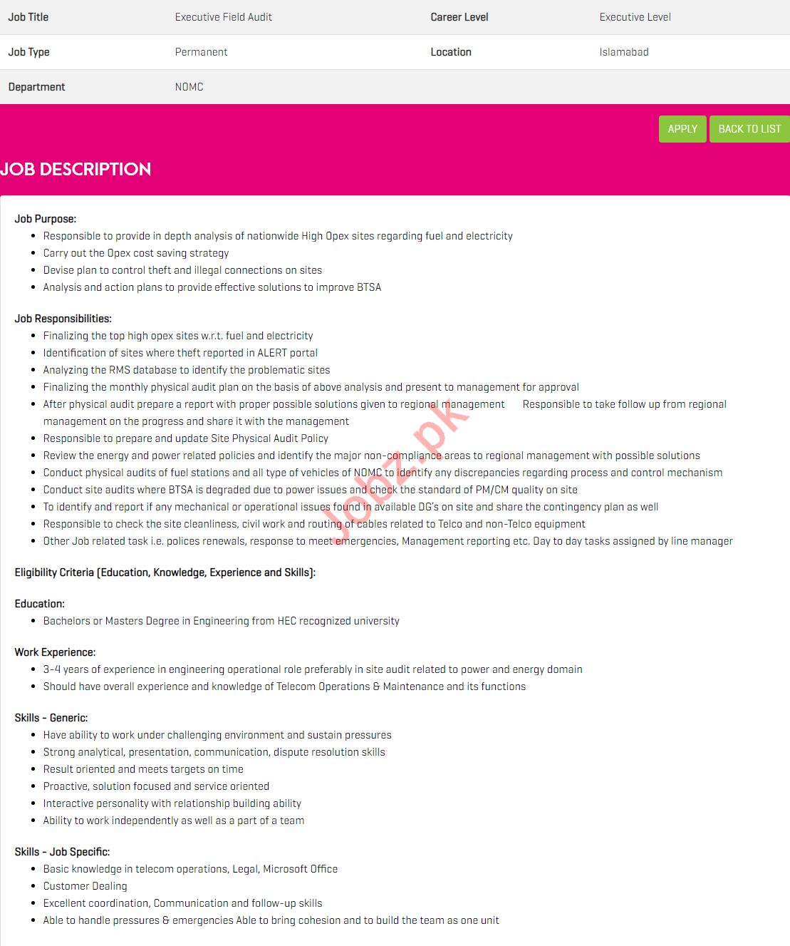Executive Field Audit Jobs in Zong Pakistan
