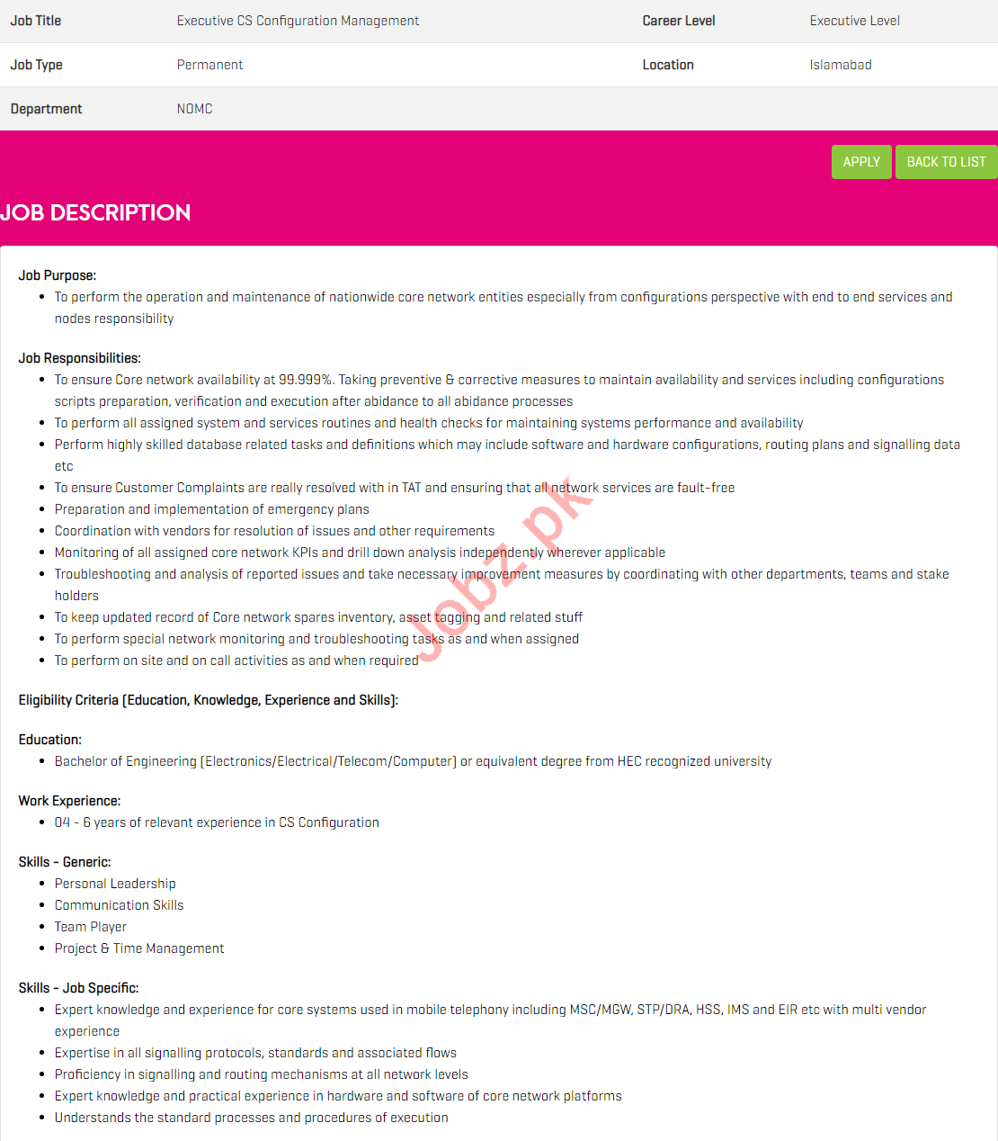 Executive CS Configuration Management jobs in Zong Pakistan