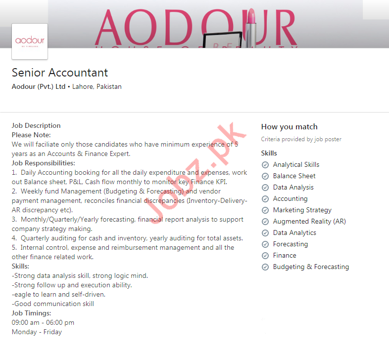 Aodour Private Limited Accountant Jobs 2019