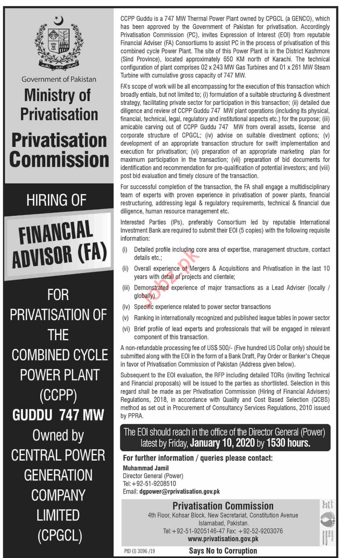 Ministry of Privatisation Financial Advisor Jobs 2019