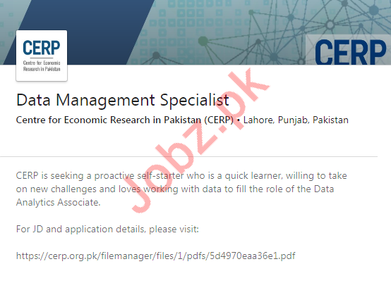 Centre for Economic Research in Pakistan CERP Jobs 2019