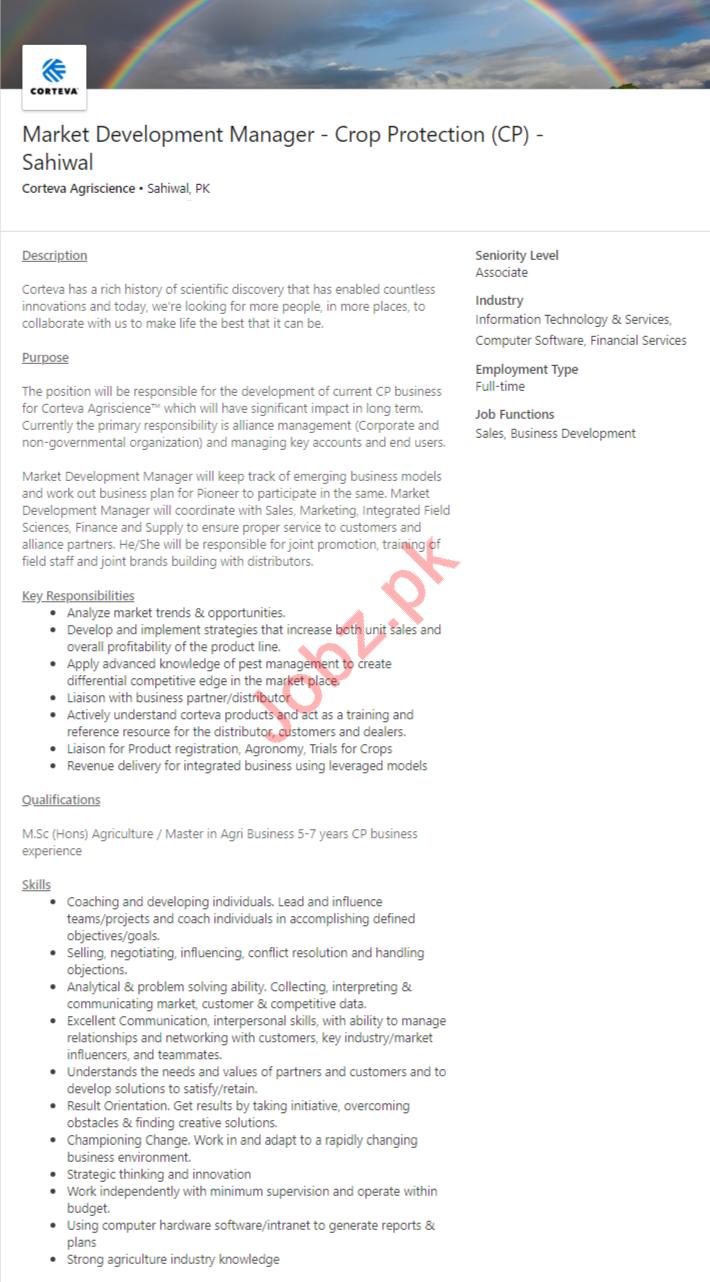 Market Development Manager Jobs in Corteva Agrisciences