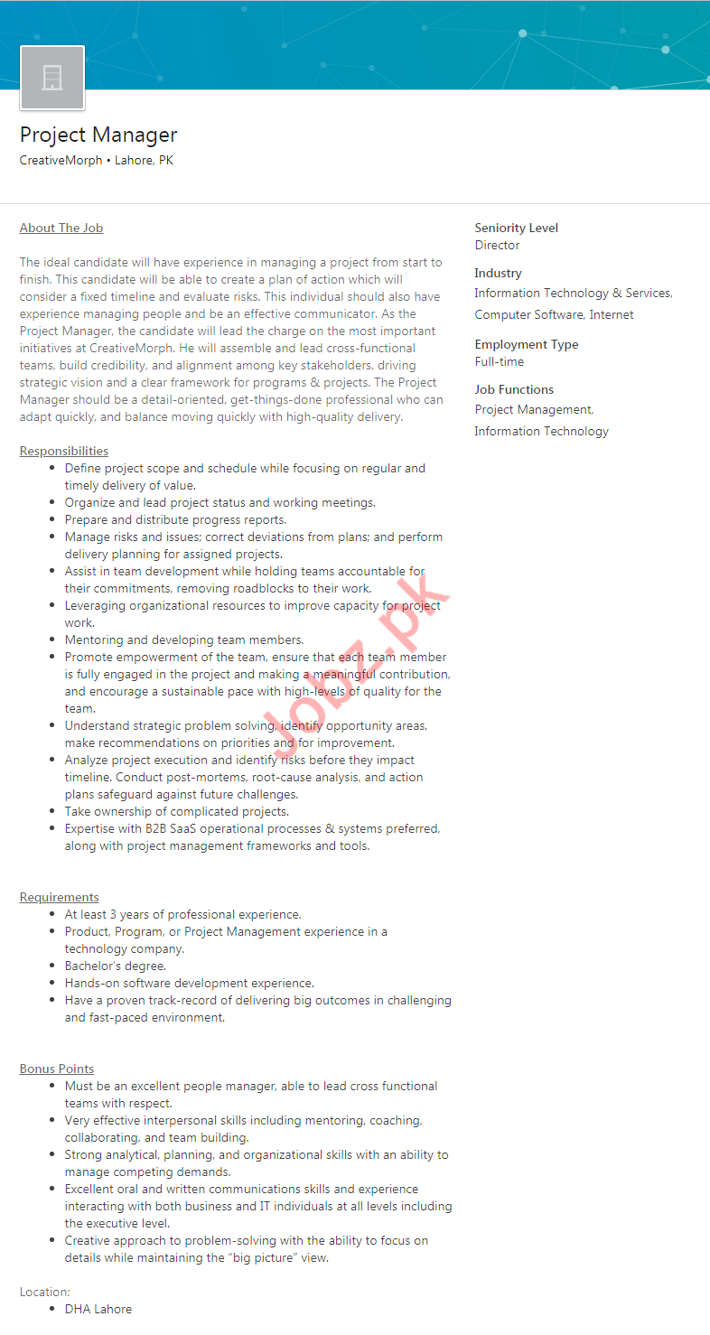Project Manager Jobs in  CreativeMorph