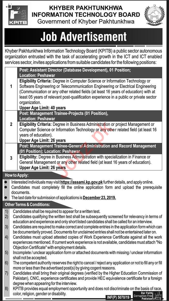 KP Information Technology Board KPITB Peshawar Jobs 2020