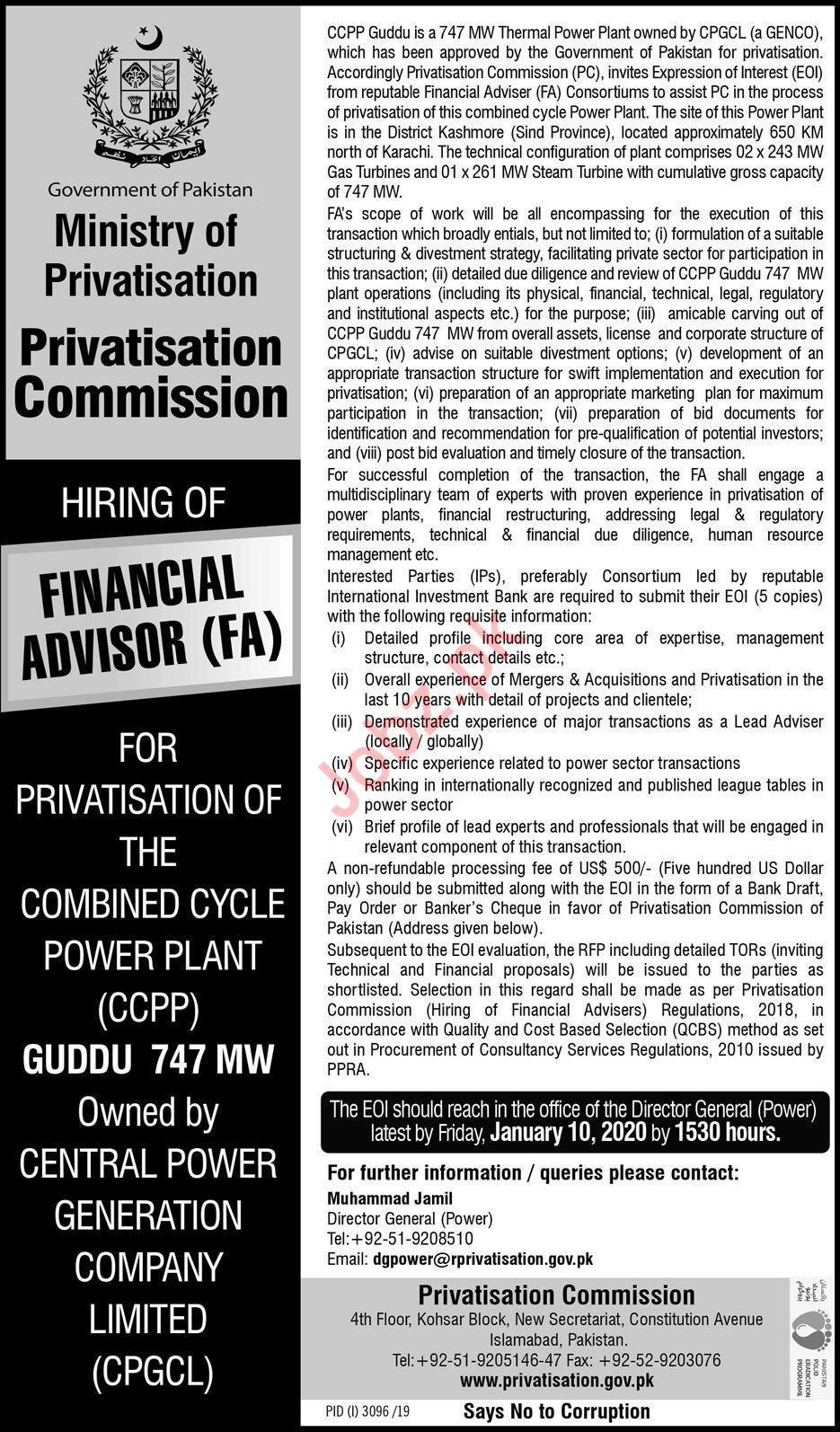 Privatisation Commission Islamabad Jobs 2019