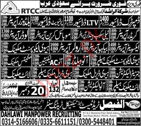 HTV LTV Driver Auto AC Technician Jobs in Saudi Arabia