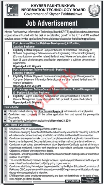 Khyber Pakhtunkhwa Information Technology Boad KPITB Jobs