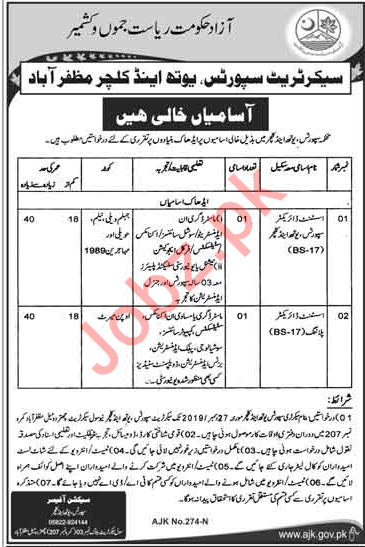 Assistant Director  Jobs in Sports Youth & Culture