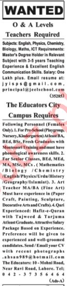 Teaching Staff Jobs in Lahore