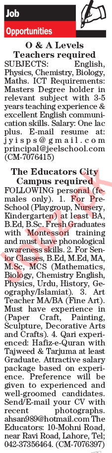 Subject Teacher Jobs in Lahore