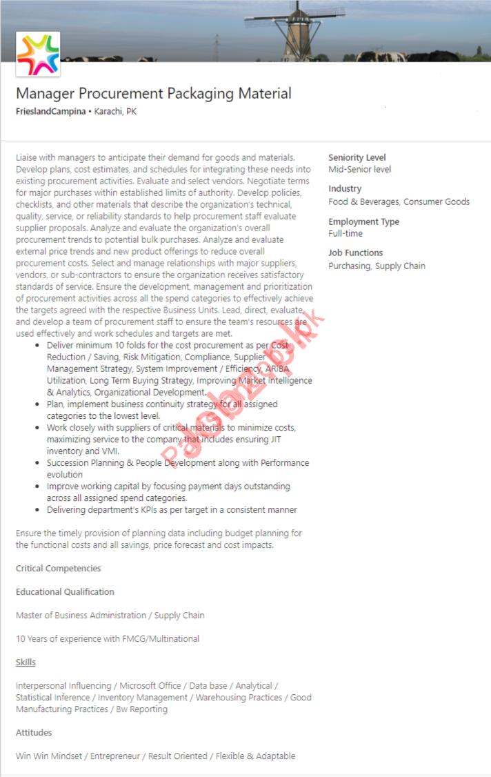 Manager Procurement Jobs in Friesland Campina