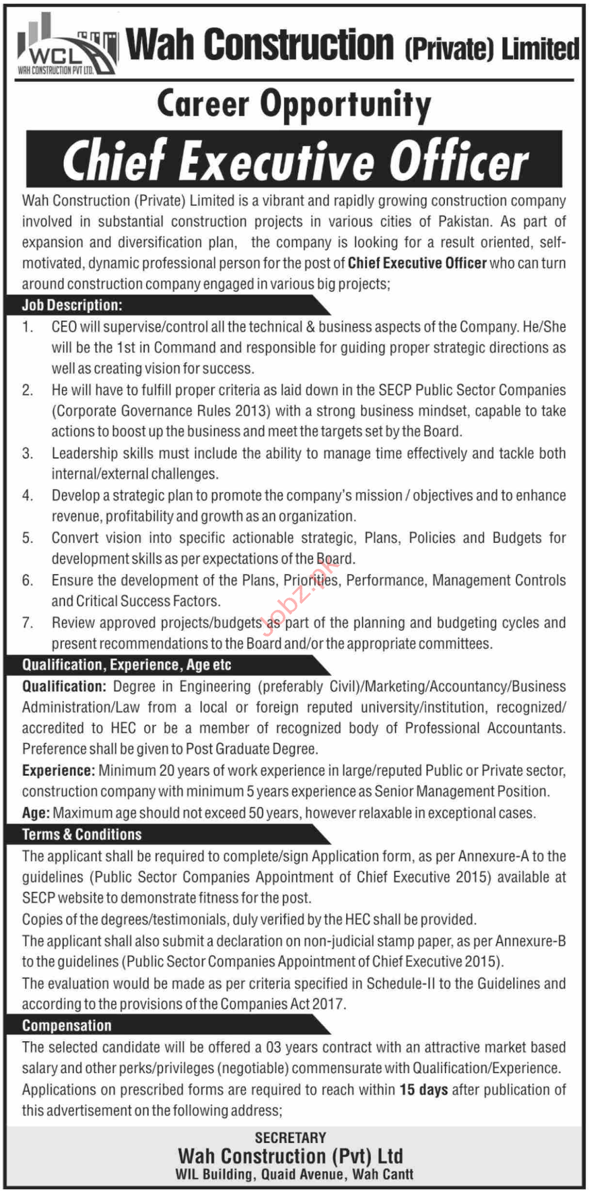 Wah Construction Pvt Ltd Jobs 2020