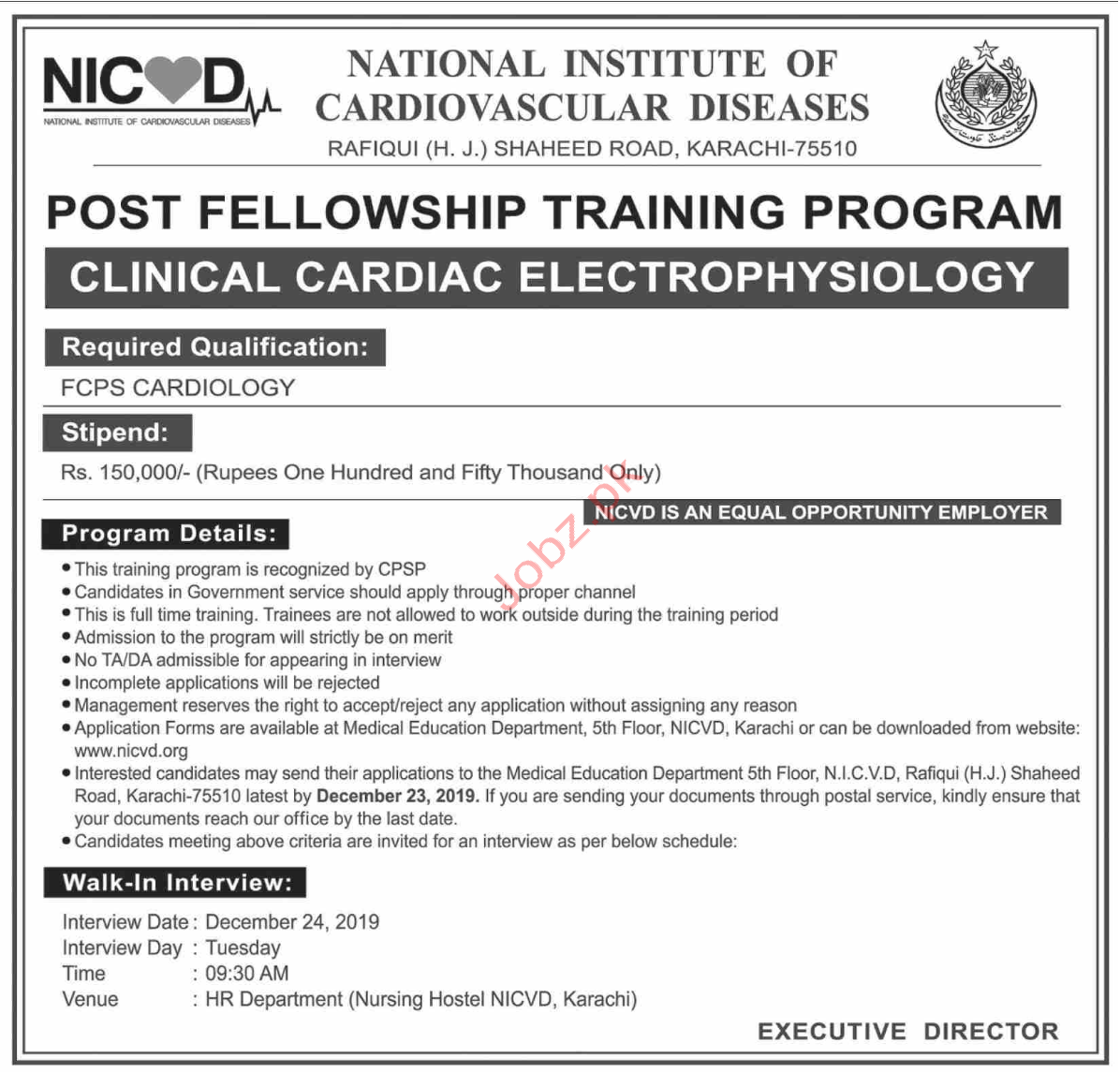 National Institute of Cardiovascular Diseases NICD Jobs 2020
