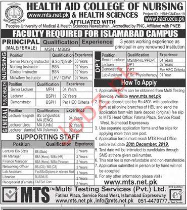 Health Aid College of Nursing & Health Sciences MTS Jobs