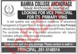 Bahria College Naval Anchorage Islamabad Jobs 2020