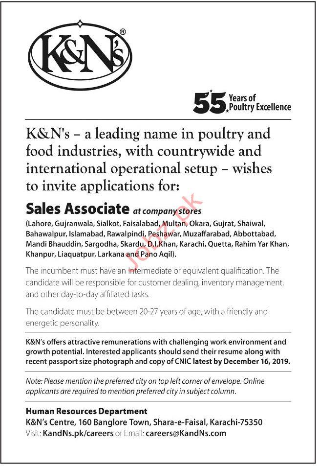 K&Ns Jobs in Karachi