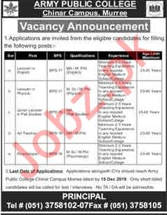 Army Public College Chinar Campus Jobs 2020