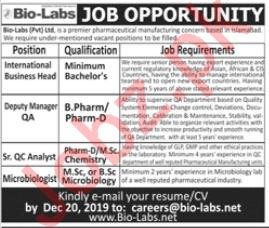 International Business Head QC Analyst Jobs in Lahore