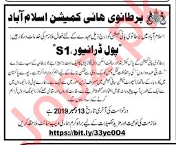British High Commission Pol Driver Job in Islamabad