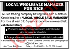 Local Wholsale Manager Jobs in Rice Trading Company