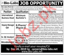 Bio Labs Private Limited Management Staff Jobs 2020