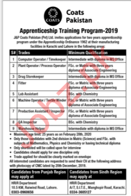 J&P Coats Pakistan Apprenticeship Training Jobs 2020
