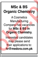Chemist jobs in Cosmetics Manufacturing Company