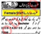 Khabrain Sunday Classified Ads 8th Dec 2019 for Ladies Staff