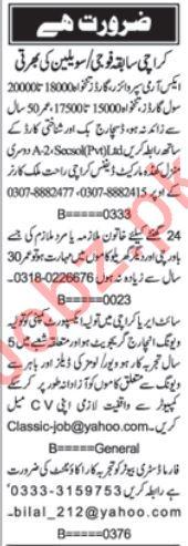 Industrial Staff & House Staff Jobs in Karachi