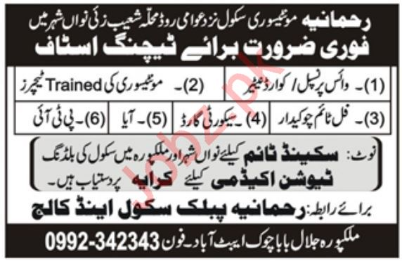 Teaching Staff Jobs in Rehmania Public School & College