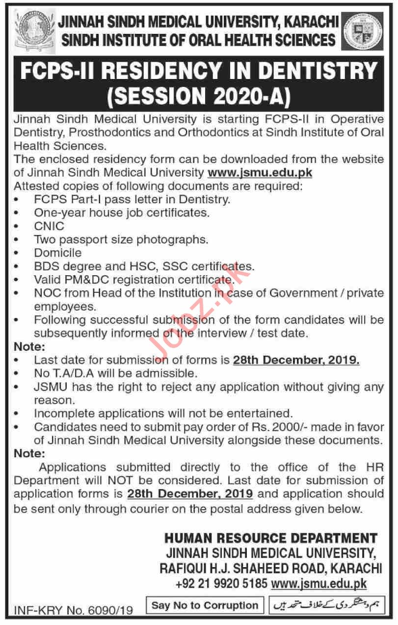 JSMU Sindh Institute of Oral Health Sciences SIOHS Jobs 2019