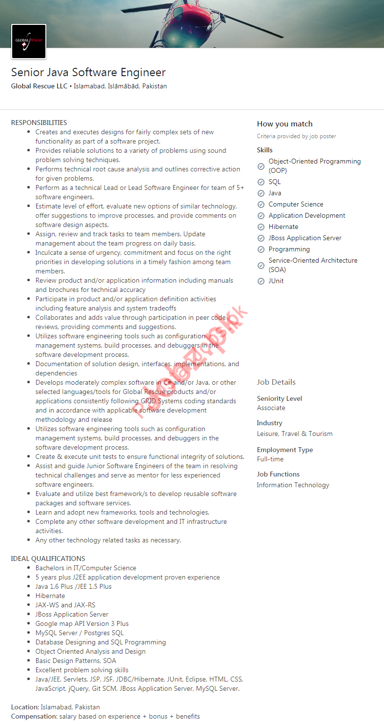 Senior Java Software Engineer Job 2019 in Islamabad