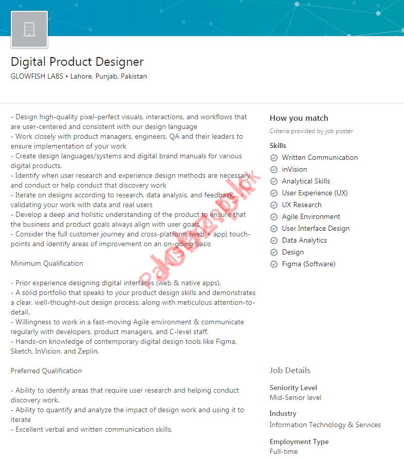 Digital Product Designer Job 2019 For Lahore