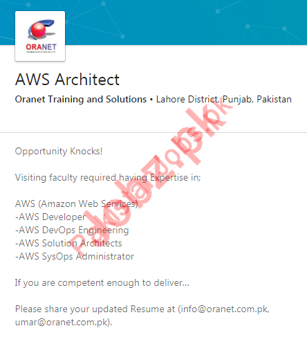 AWS Architect Job 2019 in Lahore