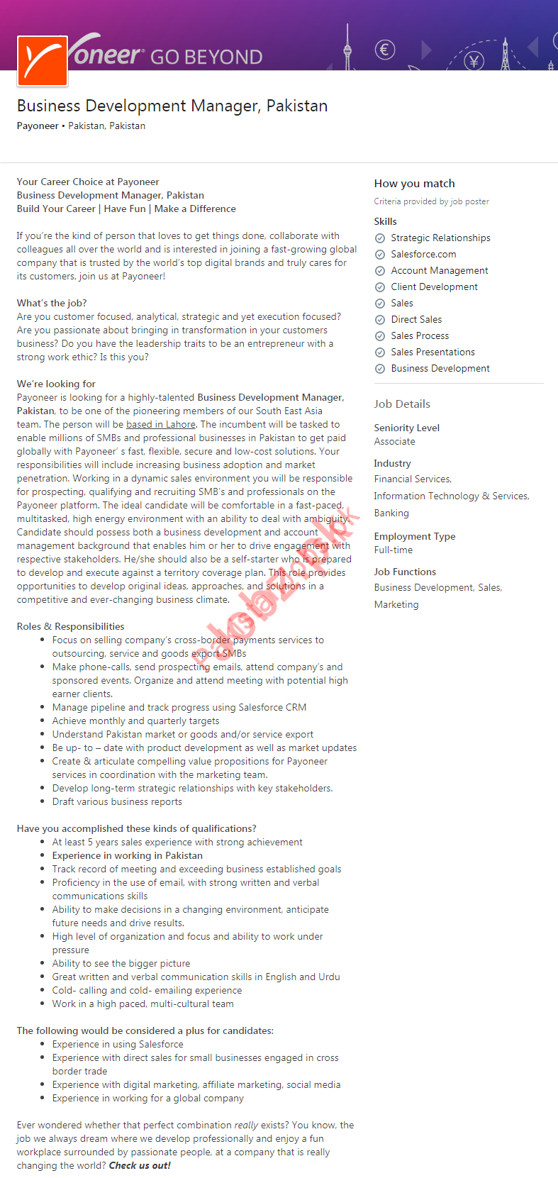 Business Development Manager Jobs 2019 in Lahore