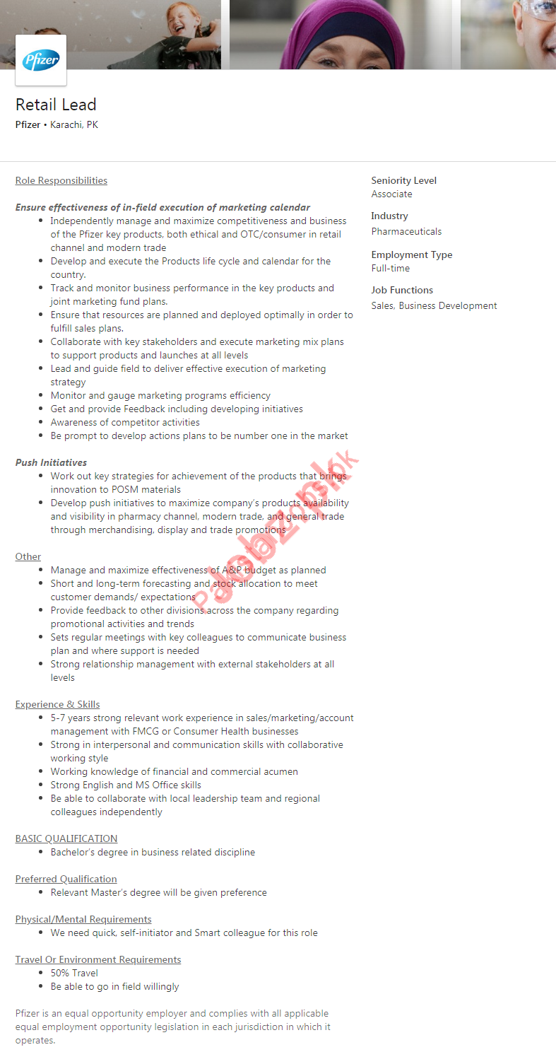 Pfizer Pharmaceutical Company Job 2019 in Karachi