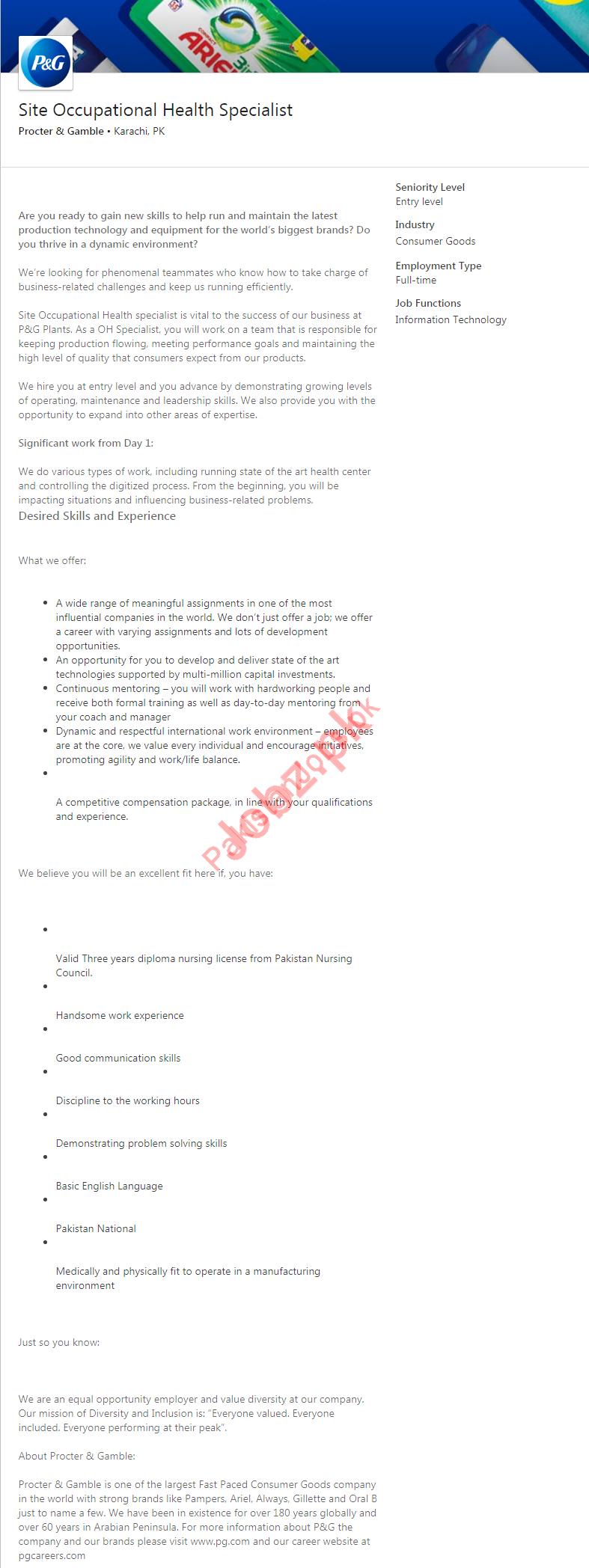 Site Occupational Health Specialist Job 2019 in Karachi