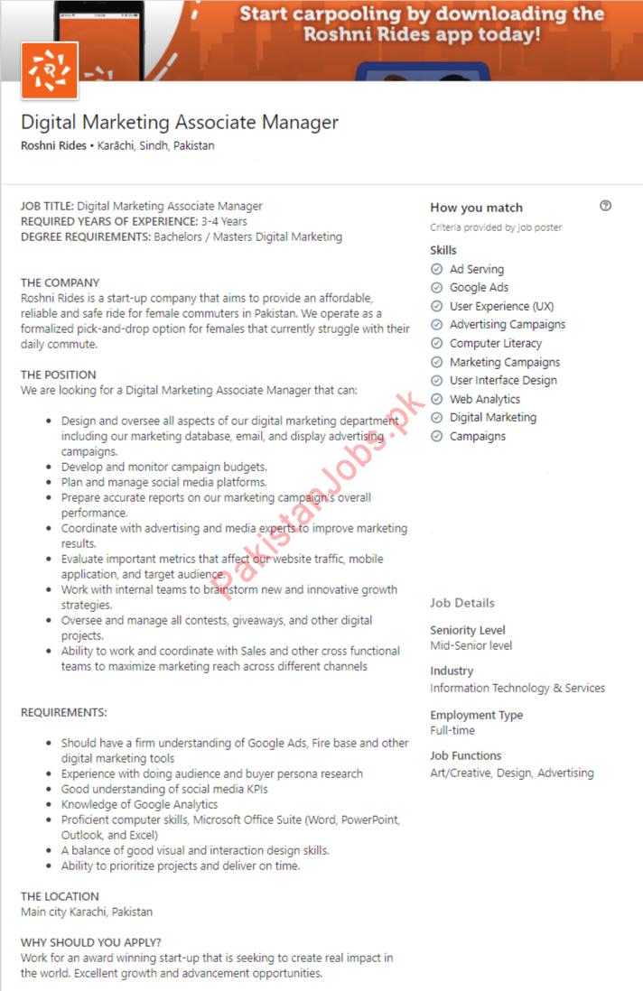 Digital Marketing Associate Manager Job in Karachi