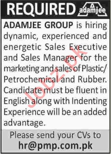 Adamjee Group Karachi Jobs 2019 for Sales Manager