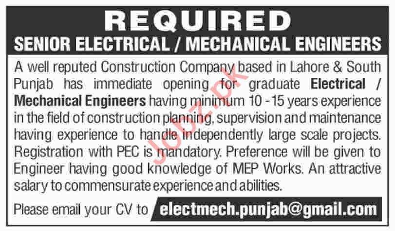 Senior Electrical & Mechanical Engineer Jobs 2019