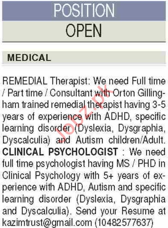 Clinical Psychologist & Remedial Therapist Jobs 2019