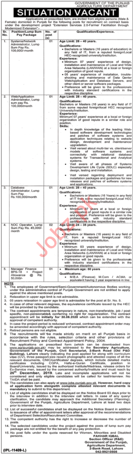 Agriculture Department Punjab Jobs 2019 for Administrators